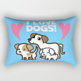 I Love Dogs Rectangular Pillow