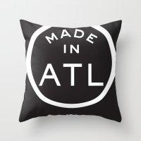 atlanta Throw Pillows featuring Atlanta (white) by DCMBR - December Creative Group