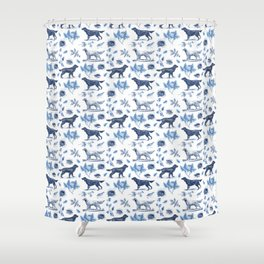 BIRD DOGS & CALSSIC BLUE FRENCH PORCELAIN Shower Curtain