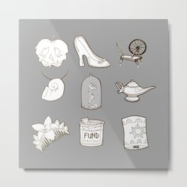 Happily Ever Afters in Gray Metal Print