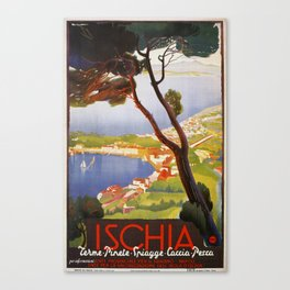 Ischia Island Italy summer travel ad Canvas Print