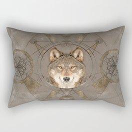 Wolf Sacred Geometry Digital Art Rectangular Pillow