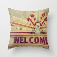 welcome Throw Pillows featuring Welcome  by Honey Malek