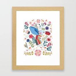 Folk Art Inspired Hummingbird In A Burst Of Springtime Blossoms Framed Art Print