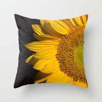 sunflower Throw Pillows featuring sunflower by mark ashkenazi