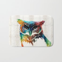 Colorful Owl Art - Wise Guy - By Sharon Cummings Bath Mat