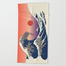 The Great Wave of Sloth Beach Towel
