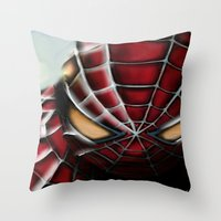 spider man Throw Pillows featuring Spider-Man by Inspirations