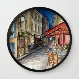 Postcards from Paris - Montmartre by Night: Le Tire-Bouchon Creperie Wall Clock
