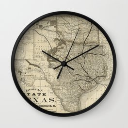Old Map of Texas 1876 Vintage Wall map Restoration Hardware Style Map Wall Clock