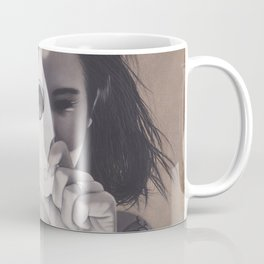 Realism Drawing of Beautiful Woman with Ouija Planchette Piece Coffee Mug