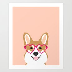 Corgi Love - Valentines heart shaped glasses on funny dog for dog lovers pet gifts customizable dog  Art Print