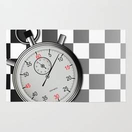 Chequered Flag and Stop Watch Rug