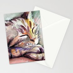 Sleeping Kitten Watercolor Cat Whimsical Cats Stationery Cards