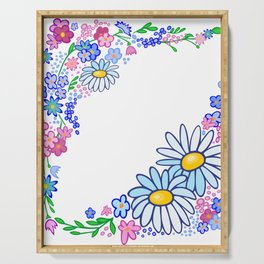 Frame from abstract flowers Serving Tray