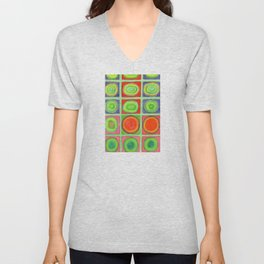 Green Grid filled with Circles and intense Colors Unisex V-Neck