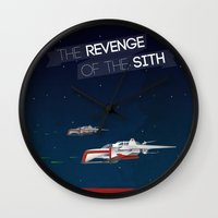 sith Wall Clocks featuring Revenge of the Sith by Clément Tholance