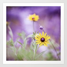 Purple Yellow Flower Photography, Violet Floral Green Nature Art Print