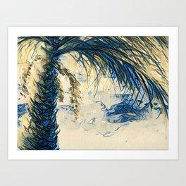 Tropical Palm Tree Blue by CheyAnne Sexton Art Print
