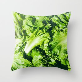 Green Leaf Lettuce Background Pattern Throw Pillow