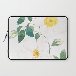 white wild Rosa rubiginosa watercolor Laptop Sleeve