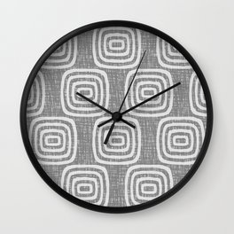 Mid Century Modern Mudcloth Concentric Pattern 764 Grey Wall Clock