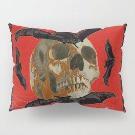 GRUNGY HALLOWEEN BAT INFESTED HAUNTED SKULL Pillow Sham