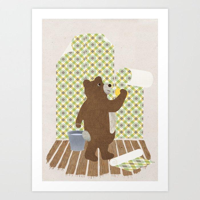 Wallpaper Bear Art Print By Petitkonijn Society6