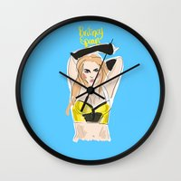 britney spears Wall Clocks featuring Britney Spears by IssaBlack