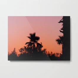 Palm Trees on Purple Metal Print
