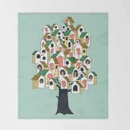 Bird houses Throw Blanket