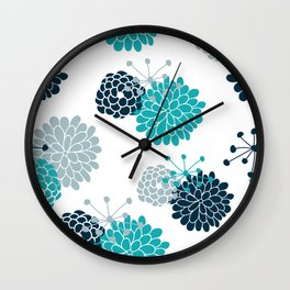 Turquoise Floral Wall Clock