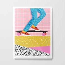 Chavvy - memphis skateboarder long boarding retro patterns 1980's trend vibes socal cali beach life Metal Print