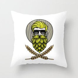 Green Hops Beard - Beer Style - Hops Fashion Throw Pillow