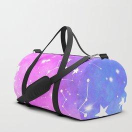 White constellation universe pattern zodiac on purple blue nebula space watercolor Duffle Bag