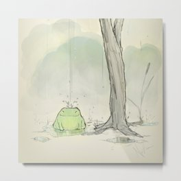 The frog under the rain Metal Print
