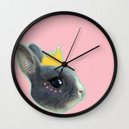 Baby Bunny Princess Pink and Blue Wall Clock