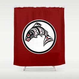 Northwest Pacific coast Haida art Salmon Shower Curtain