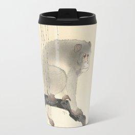 Monkey on tree branch, Ohara Koson Travel Mug