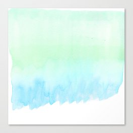 Hand painted turquoise teal blue watercolor ombre brushstrokes Canvas Print