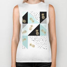 Pastel color block watercolor dots faux gold pineapple Biker Tank