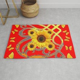 SUNFLOWER RED MODERN ART YELLOW BUTTERFLIES ABSTRACT Rug