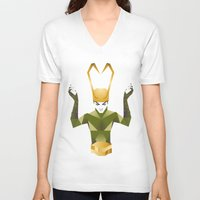 loki V-neck T-shirts featuring Loki by neonico