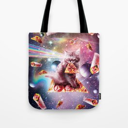 Outer Space Pizza Cat - Rainbow Laser, Taco, Burrito Tote Bag
