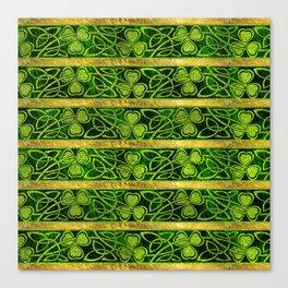 Irish Shamrock -Clover Gold and Green pattern Canvas Print