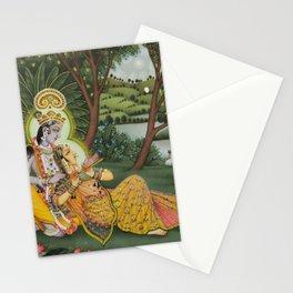 Indian Masterpiece: Radha Krishna in the garden by the stream with lotus flowers landscape painting Stationery Cards
