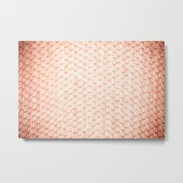 Sepia fluffy knitted fabric texture abstract Metal Print
