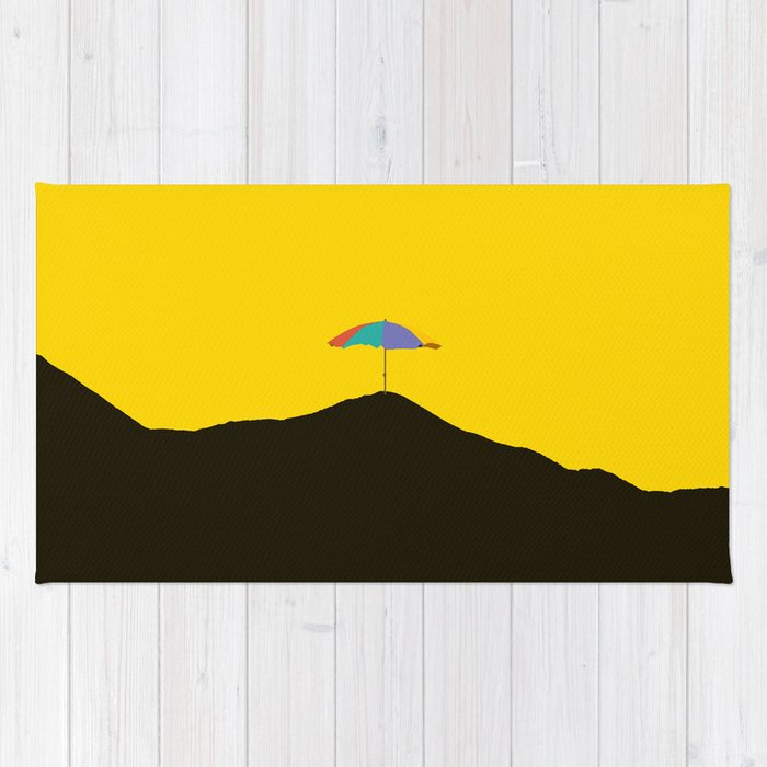 Colorful Umbrella On A Black Mountain In A Yellow Background - #society6 #buyart Rug