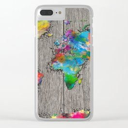 world map wood 6 Clear iPhone Case