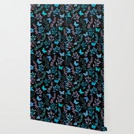 Watercolor flowers & butterflies II Wallpaper
